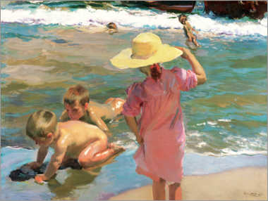 Aluminium print  Children on the seashore - Joaquín Sorolla y Bastida
