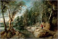 Canvas print  A Shepherd with his Flock in a Woody landscape - Peter Paul Rubens