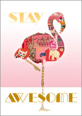 Wall sticker  Stay Awesome Flamingo - GreenNest