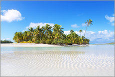 Gallery print  Tropical beach with palm trees, One Foot Island, Aitutaki, Cook Islands - Matteo Colombo