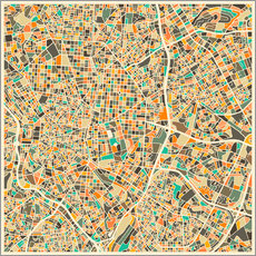 Wall sticker  Madrid map - Jazzberry Blue