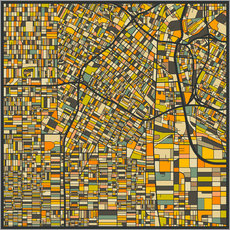 Gallery print  Los Angeles Map - Jazzberry Blue