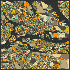 Gallery print  Stockholm Map - Jazzberry Blue