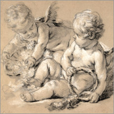 Acrylic print  Winged Putti with Flowers - François Boucher
