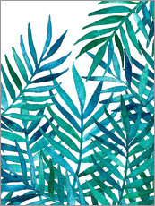 Wall sticker  Turquoise palm leaves on white - Micklyn Le Feuvre