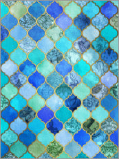 Wall sticker  Cobalt blue, gold moroccan tile pattern - Micklyn Le Feuvre