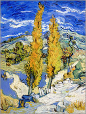 Wood print  Two Poplars on a Hill - Vincent van Gogh