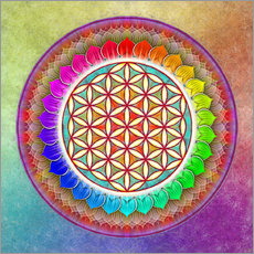 Wall sticker Flower of Life, Rainbow Lotus Artwork I