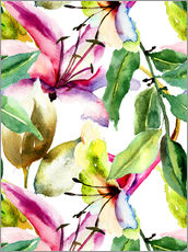 Gallery print  Lilies in watercolor