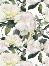 Wall sticker  White peonies in watercolor