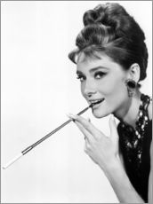 Wall sticker  Audrey Hepburn with cigarette holder