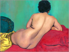 Wood print  Nude from behind on a red sofa - Felix Edouard Vallotton