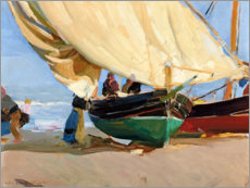 Wood print  Fishing, anchored boats, Valencia. - Joaquín Sorolla y Bastida