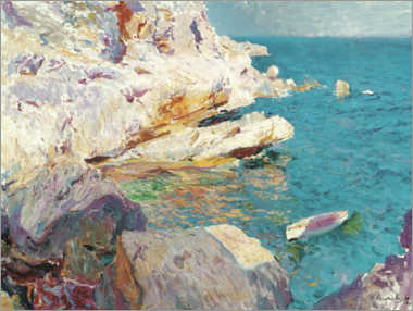 Acrylic print  Rocks of Jávea and the white boat - Joaquín Sorolla y Bastida