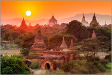 Gallery print  Temples of Bagan at sunset