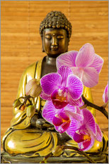 Gallery Print  Buddha with orchid