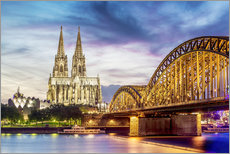 Wall sticker  Lighted Cathedral with Rhine and Bridge, Cologne