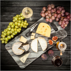 Wall sticker Wine and cheese still life