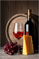 Wall sticker  Red Wine with Cheese and Grapes