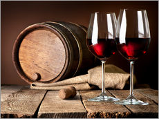 Wall sticker  Barrel and Wine Glasses with Red Wine