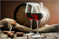 Gallery print  Wine and barrel on a wooden table