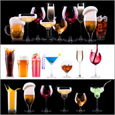 Wall sticker  drinks - beer, wine, cocktail, juice, champagne, scotch, soda