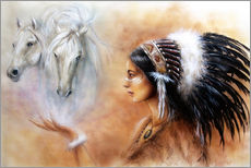 Wall sticker  American Indian with horses