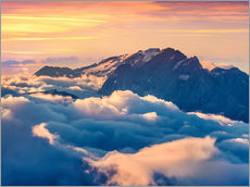 Wall sticker  Sunrise on a foggy Val di Fassa valley with passo Sella, Dolomites