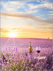 Gallery print  Bottle of wine in lavender field