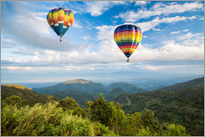Gallery print  Hot air balloon over the mountains