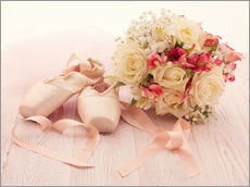 Gallery print  Ballet shoes with bouquet