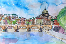 Gallery Print  Vatican Rome Italy Sunset On River Tiber With St Peter II - M. Bleichner