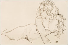 Gallery print  Supporting herself, female with long hair - Egon Schiele