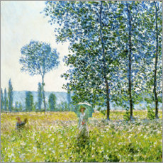 Canvas print  Under the poplar trees - Claude Monet