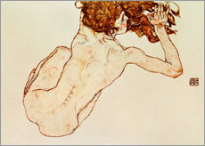Wall sticker  Crouching nude, back view - Egon Schiele