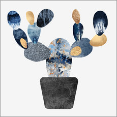 Wall sticker Blue And Gold Cactus