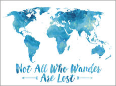 Gallery print  Not all who wander are lost map (blue) - Mod Pop Deco