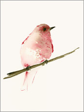 Gallery print  Rasberry red bird - Dearpumpernickel