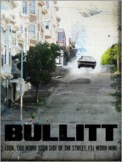 Wall Stickers  alternative bullitt retro movie poster - 2ToastDesign