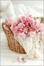 Gallery Print  Pink pastel flowers in wicker basket