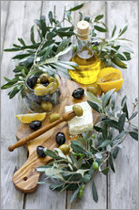 Gallery print  Green and black olives with bottle of olive oil