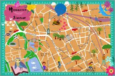Wall sticker  Colorful city map Hanover - Elisandra Sevenstar