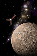 Wall sticker  A probe investigating a heavily cratered moon in deep space. - Marc Ward