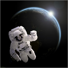 Gallery print  Astronaut floating in space as the sun rises on to Earth-like planet. - Marc Ward