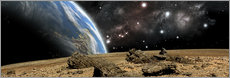 Gallery print  An Earth-like planet rises over a rocky and barren alien world. - Marc Ward