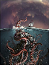 Wall sticker  A fantastical depiction of the legendary Kraken. - Jerry LoFaro