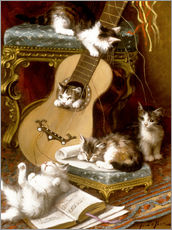 Wall sticker  Kittens at play with a guitar - Jules Le Roy