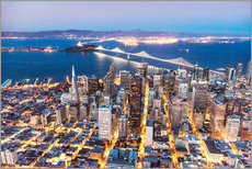 Wall Stickers  Aerial view of San Francisco downtown with Bay bridge at night, California, USA - Matteo Colombo