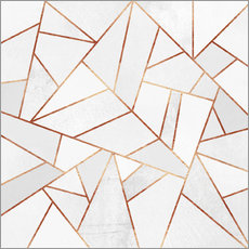 Gallery print  White Stone and copper Lines - Elisabeth Fredriksson