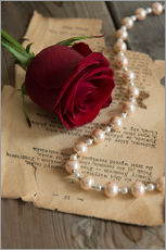 Wall sticker  Red rose, pearls and letter - Jaroslaw Blaminsky